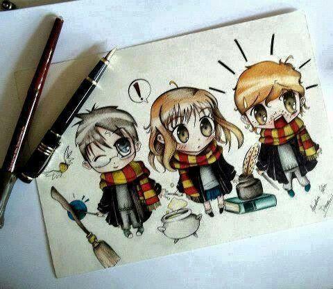 Гарри Поттер. Гермиона Грейнджер. Рон Уизли. Золотое трио. Навсегда. Рисунки.
