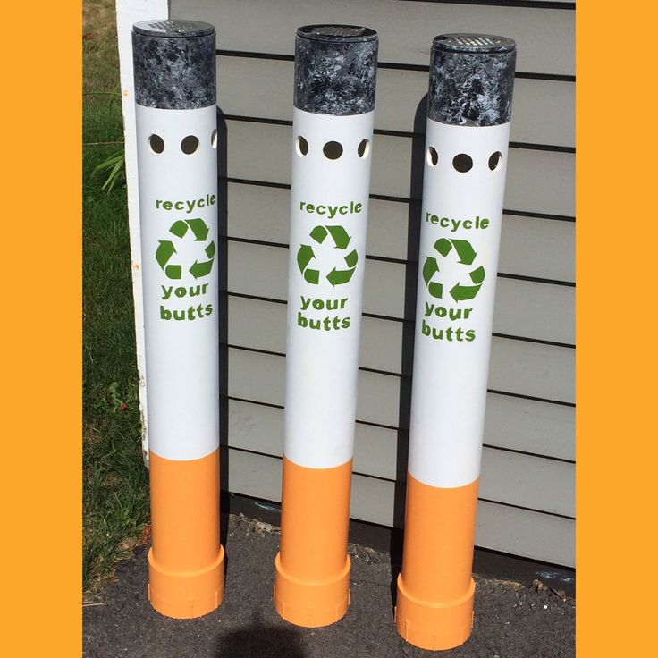 Do It Yourself Home Design: Created Cigarette Disposal Bins Out Of PVC Piping, A