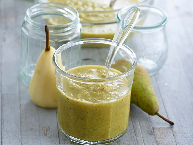 Get your little ones eating their greens by blending sweet potato and pear to pureed broccoli.