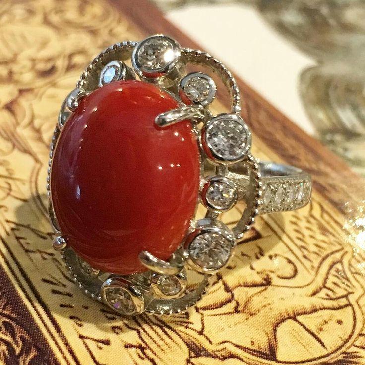 At Oakgem.com #platinum #diamond #coral #ring