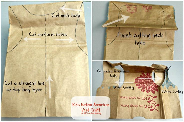 Native American Paper Bag Vest Craft Cutting Instructions