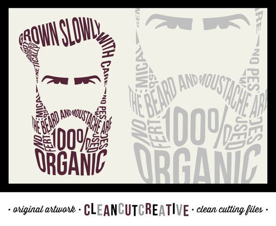 Funny hipster Organic Beard Design - SVG Studio3 DXF EPS Png - original art - for Cricut and Silhouette Cameo - clean cutting digital files