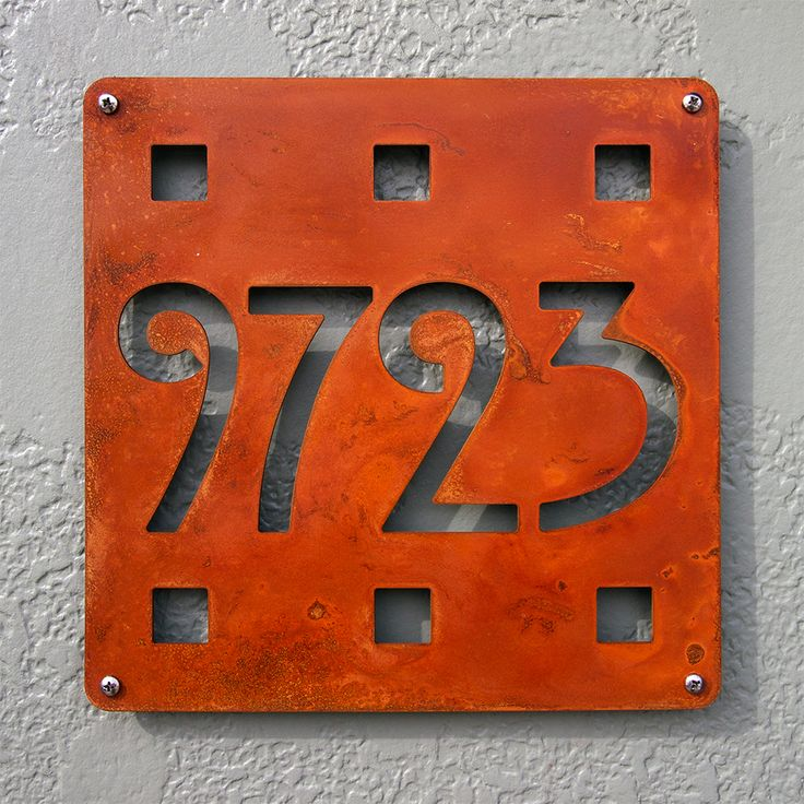CUSTOM Mission Square House Number Sign in