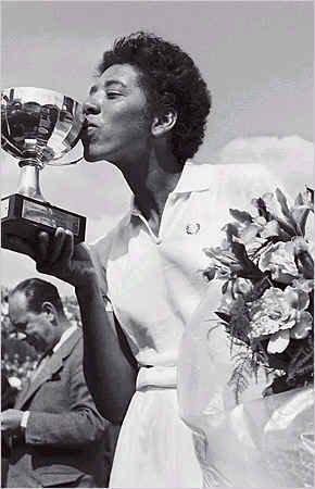 Althea Gibson is first black woman to play in the U.S. Open