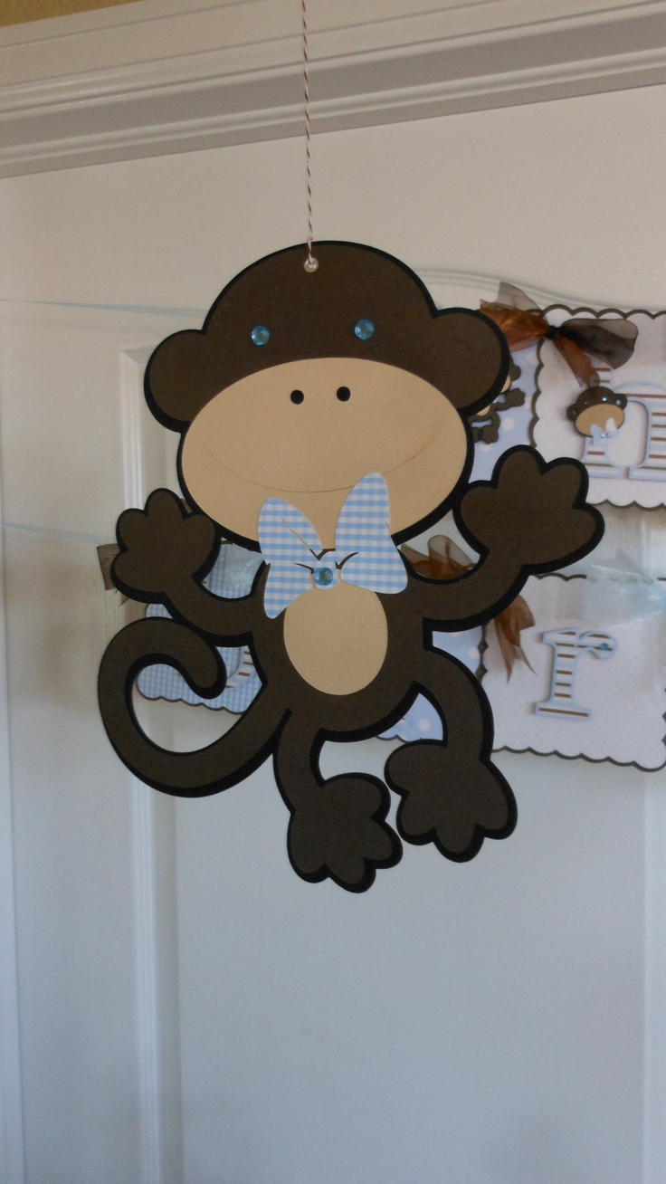 Hanging monkey party decoration baby shower ideas for Monkey decorations