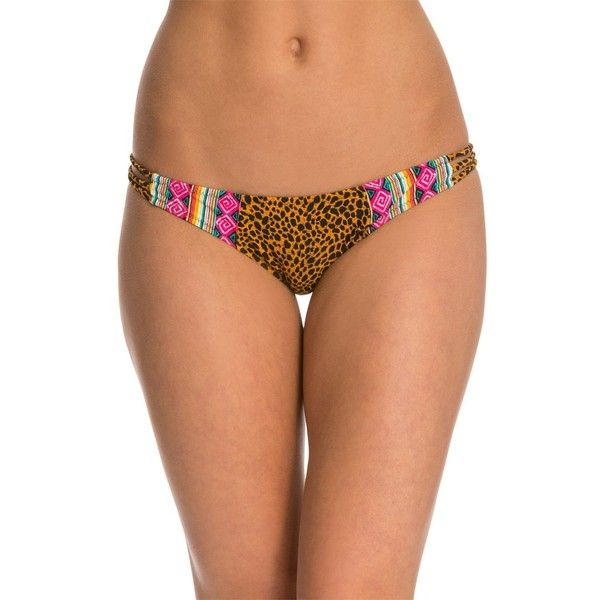 Volcom Native Tracks Full Bikini Bottom (27 CAD) ❤ liked on Polyvore featuring swimwear, bikinis, bikini bottoms, black, tribal print bikini, ruched bikini bottoms swimwear, swim bikini bottoms, strappy bikini bottom and scrunch bikini bottoms swimwear