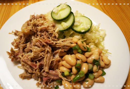 pulled pork with cabbage and bean salad Recipe
