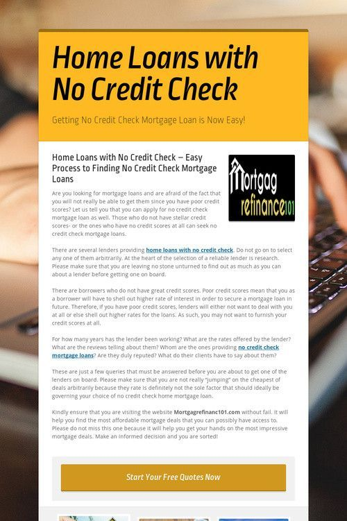 Home Loans with No Credit Check