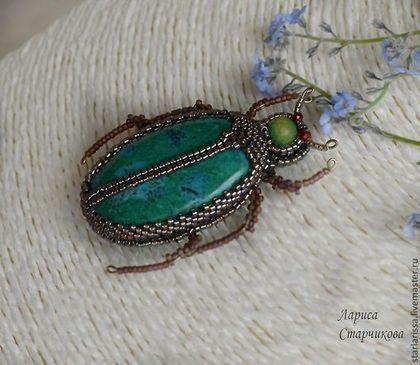 Brooch - beetle with chrysocolla - green , brooch , brooch - beetle , beetle , chrysocolla , natural stones