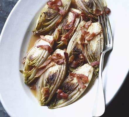 Chicory braised with bacon, cider & garlic. 161 kcalories