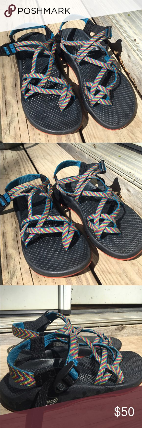 Chaco Women's Sandal-Rainbow They are a size 9 in women's, I have recently bought a new pair so I wanted to rehome these. They are wet, because I had just washed them. The previous purchaser cancelled the order, so they are still for sale :) They do not smell and fit true to size. The lowest I will take is $41. Chaco Shoes Sandals