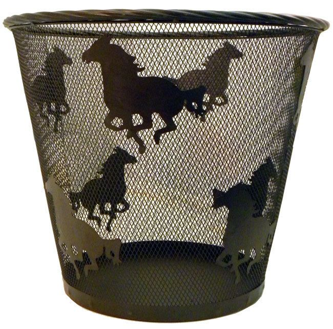 This metal horse wastebasket is a simple way to dress up the look of any room and will surely catch the attention of other horse enthusiasts! It features running horse silhouettes all around the baske
