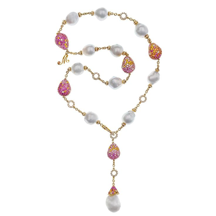 Margot McKinney's Bliss baroque pearl necklace boasts a suite of 11 baroque South Sea pearls and 5 pearl-shaped beads set with white diamonds and pink, yellow, and orange sapphires. Discover the baroque pearl harvest that sees incredible jewellery with pearls, opals, gemstones and more designed by the incredible Australian jewellery designer: http://www.thejewelleryeditor.com/jewellery/article/margot-mckinney-baroque-pearls-rock-our-world/ #luxury