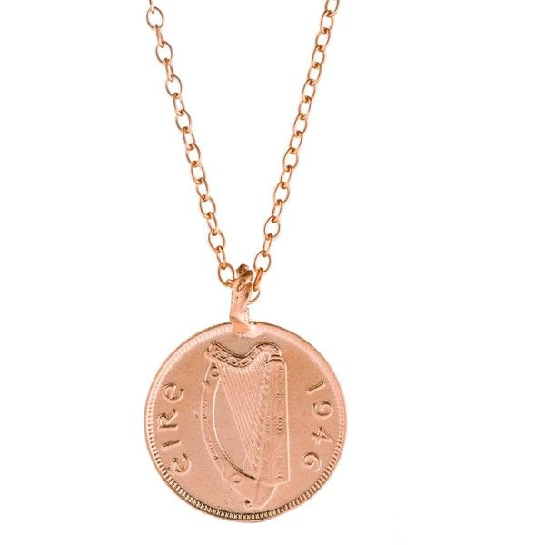 Chupi - Worth You Weight in Gold Farthing Coin Necklace Rose Gold (260 CAD) ❤ liked on Polyvore featuring jewelry, necklaces, gold layered necklace, 18 karat gold necklace, 14k gold charms, 14 karat gold necklace and gold necklace