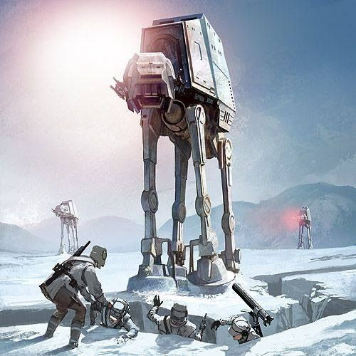 Imperial AT-ATs assault Rebel forces on Hoth.