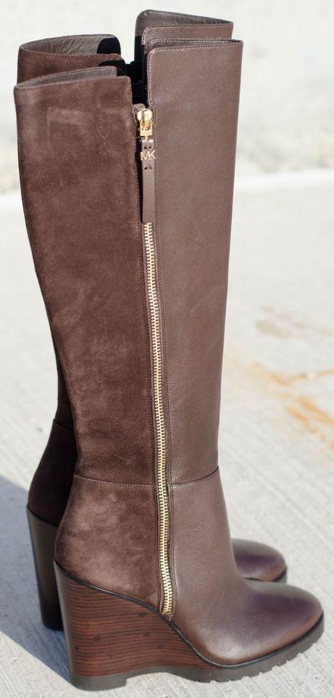 MICHAEL KORS Womens 9 8.5 Clara Coffee Brown Suede Leather Wedge Knee Round Boot #MichaelKors #KneeHighBoots #Formal