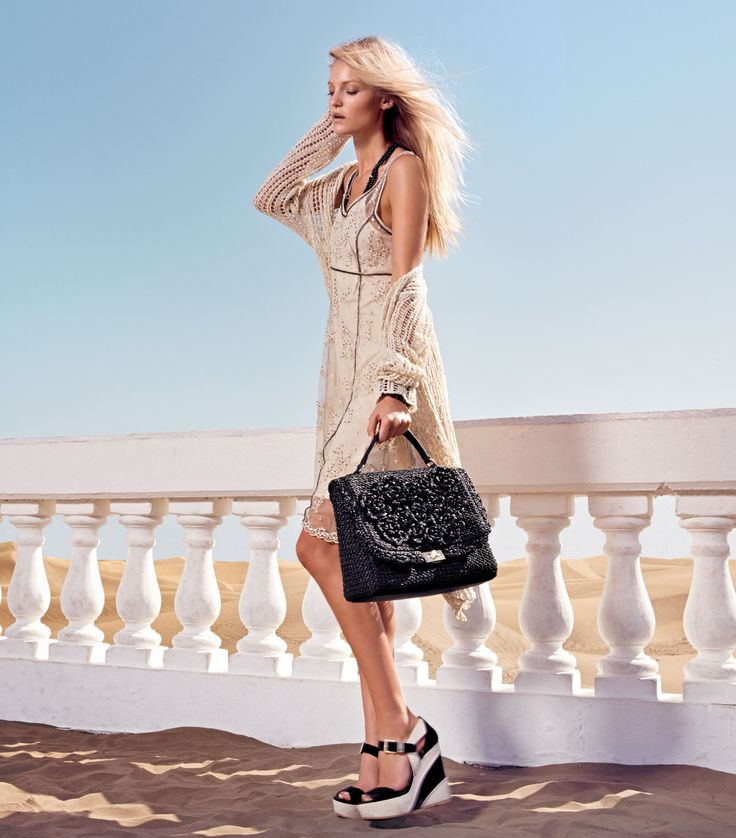 TWIN-SET Simona Barbieri: Long knitted cardigan, sleeveless dress with sequin embroidery, satchel bag straw effect and two-tone wedge sandal