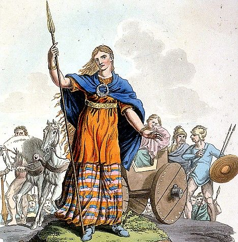 Boadicea commanded an army that lead a revolt against the occupying forces of the Roman Empire in Britain. At the outset Boudica employed a form of divination, releasing a hare from the folds of her dress and interpreting the direction in which it ran, and invoked Andraste, a British goddess of victory.