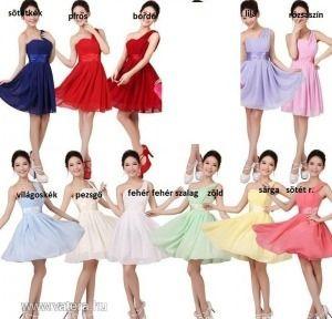 új egyvállas rövid alkalmi/koszorúslány ruha12szín - Koszorúslány ruha