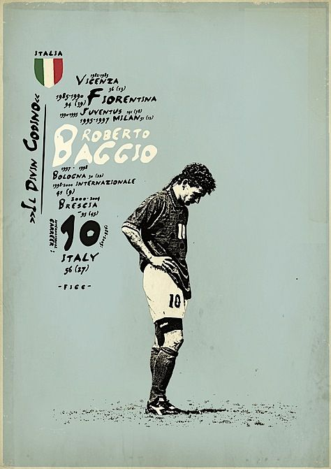 Retro Soccer Player Posters - Poor Baggio...kicked it over the net for PK finish in the WC 90's...excellent player....