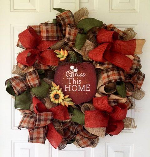 Fall Deco Mesh Wreath--Bless This Home Wreath--Front Door Wreath--Fall Ribbon Wreath