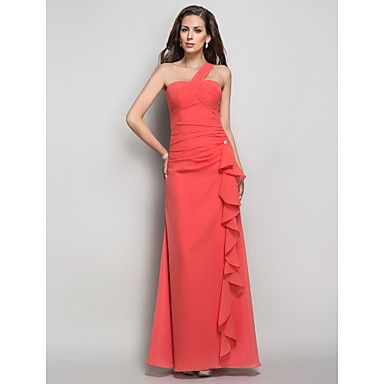 Formal+Evening+/+Prom+/+Military+Ball+Dress+-+Watermelon+Plus+Sizes+/+Petite+Sheath/Column+One+Shoulder+Floor-length+Chiffon+–+USD+$+99.99