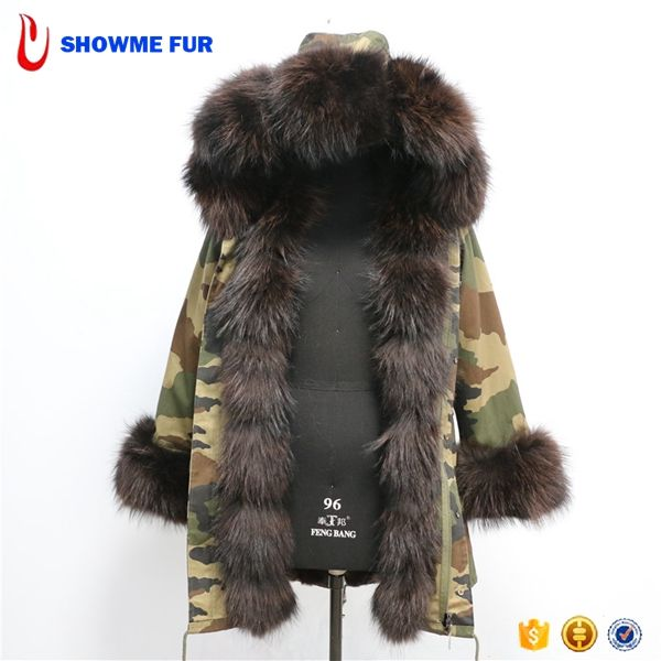 Hot Sell Camo Color Long Twist Style Real Fox Fur Parka Jacket With Fox Fur Hood