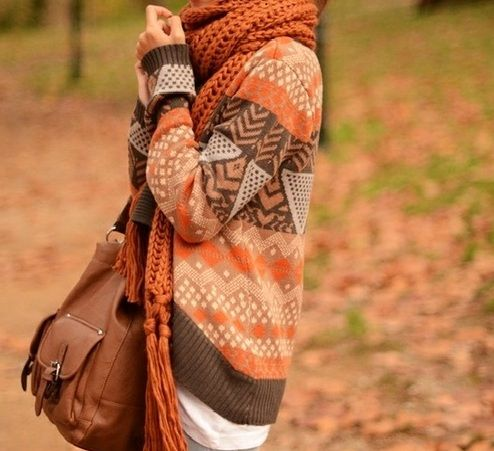 Fall is in the airTribal Sweater, Fall Style, Sweaters Weather, Fall Sweaters, Scarves, Fall Fashion, Fall Outfit, Big Sweater, Cozy Sweaters