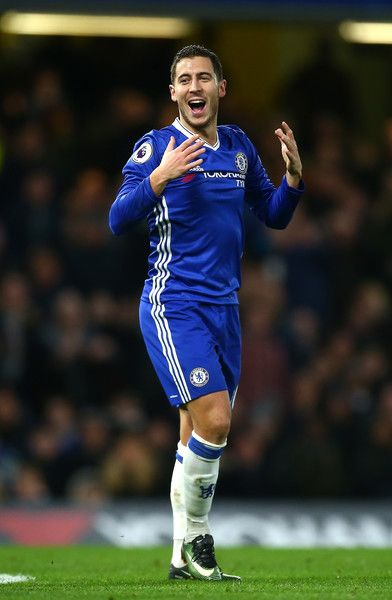 Eden Hazard of Chelsea reacts during the Premier League match between Chelsea and AFC Bournemouth at Stamford Bridge on December 26, 2016 in London, England.