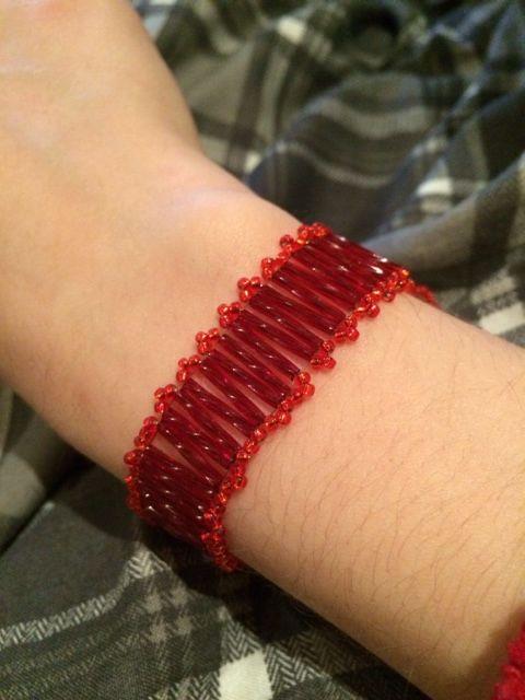 Ladder bracelet with hem