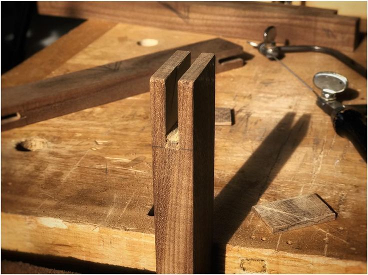 Bridle joints in the afternoon sun. Life is good. #theunpluggedwoodshop #anunpluggedlife #glasscabinet #joinery #teak #reclaimedwood #designermaker #handtoolsonly #madebyhand #nopowernoproblem #torontolife #woodworkingjoints #woodworking #cabinetmaking #leslieville