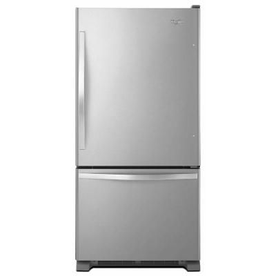 Whirlpool 33 in. W 22.1 cu. ft. Bottom Freezer Refrigerator in Monochromatic Stainless Steel-WRB322DMBM at The Home Depot