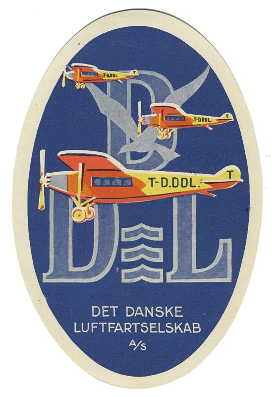 Det Danske Luftfartselskab (Luggage Label) by Artist Unknown | Shop original vintage #posters online: www.internationalposter.com