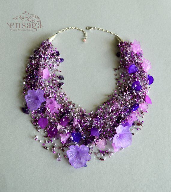 0f91306f3 NEW Amethyst necklace, Multistrand jewelry, Flower power, Purple jewellery, Floral, Birthday gift, Lilac necklace for women, Trend 2019, Find