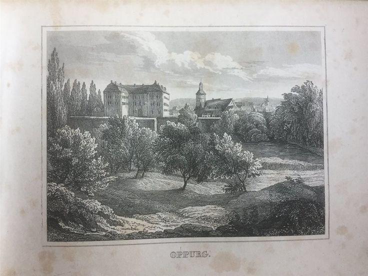 Annons på Tradera: Oppurg Tyskland Antik Etsning Topografisk Plansch 1840 Das kleine Universum