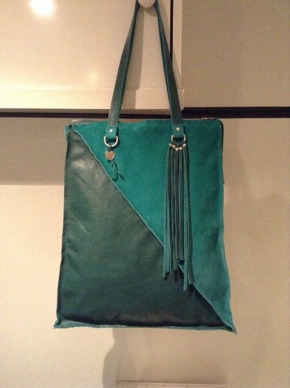 Green Tote Bag met ritssluiting van AUfashion op Etsy
