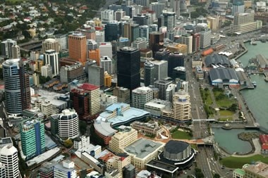 Aerial view of Wellington city centre, New Zealand.