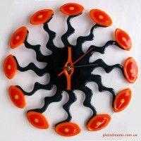 "Beautiful Handmade Glass Wall Clock ""Triumph"". Fusing technique, 39 cm diameter."