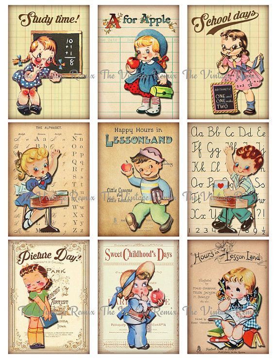 Printable School Scrapbook Images Instant by TheVintageRemix