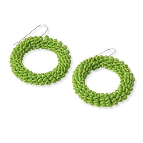 thumbnail for Spiral earrings - lime green