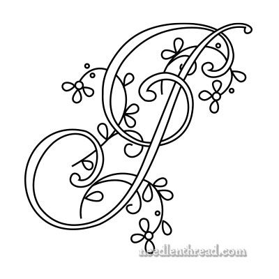 Monogram for Hand Embroidery: J