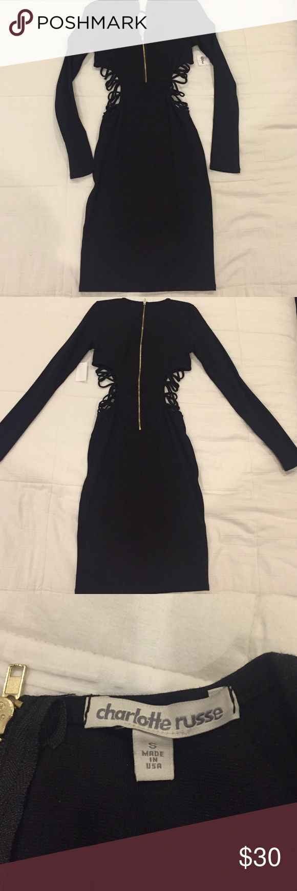 Deep v neck black dress Deep v neck black dress over the knee gold zipper in back and side cutouts very sexy brand new with tags never worn Dresses