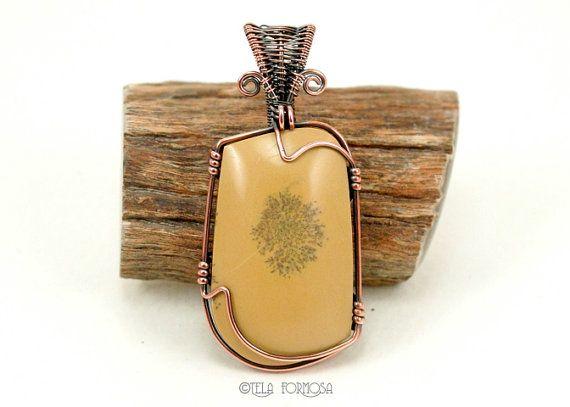 Sage Dolomite Pendant Dendritic Honey Yellow by TelaFormosaJewelry, $85.00