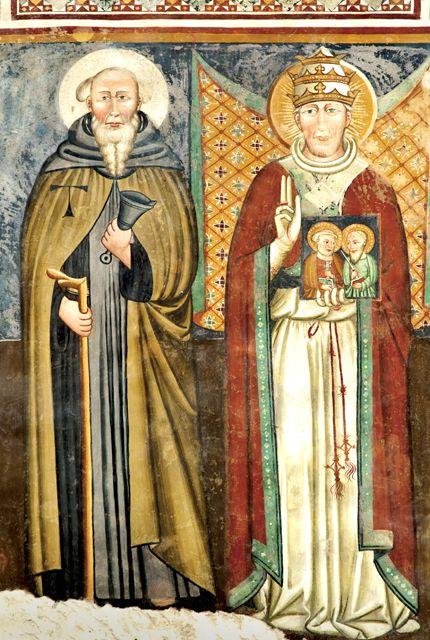 Vallo di Nera (PG). Chiesa di Santa Maria Assunta. Sant`Antonio Abate e San Gregorio Magno