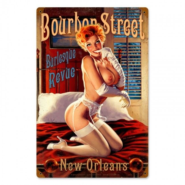Bourbon Street Pinup Girl Metal Sign 12 x 18 Inches