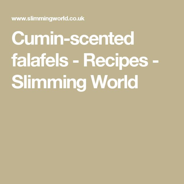 Cumin-scented falafels - Recipes - Slimming World