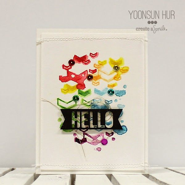 Create a smile Stamps: Floating Chevrons, Chipboard DT: Yoonsun Hur