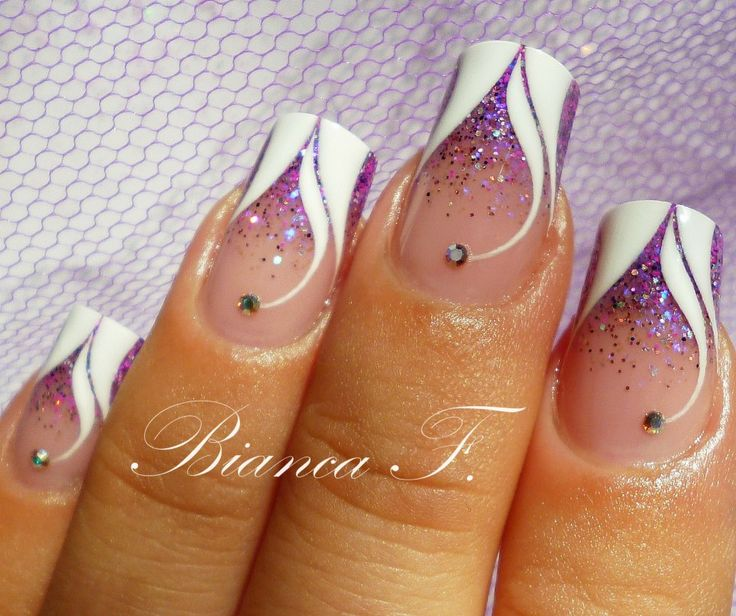 179 best bianca f images on pinterest nail scissors gel nails any season purple glitter and white french nails with rhinestones fancy prinsesfo Choice Image