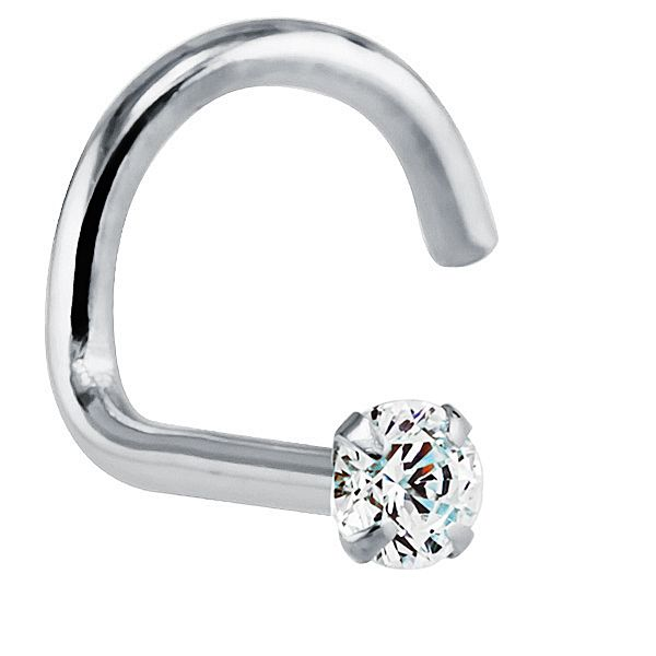 1.5mm (.015 ct. tw) Diamond 14K White Gold Nose Rings Twist Screw (20G - 16G) at FreshTrends.com