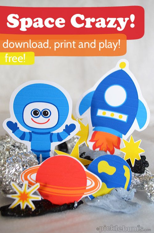 Space Crazy - free printable space characters to download print and play with! Plus a space play dough set up!